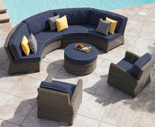 Attrayant Bainbridge Curved Contoured Sofa Sectional, Outdoor Sectional Seating,  Wicker Outdoor Seating, Curved Patio