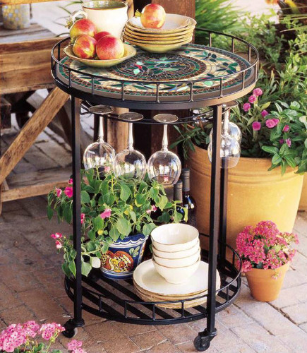 Neille Olson Round Mosaic Serving Cart