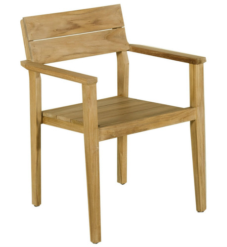 Valteck Stackable Natural Teak Dining Arm Chair