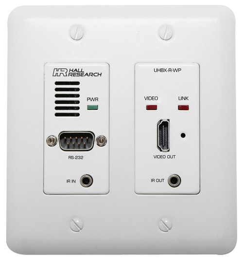 Hall Research HDBaseT Wall Plate Receiver with IR, RS-232, and PoH, UHBX-R-WP