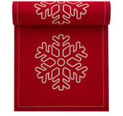 Red with White Snowflake Cotton Printed Cocktail Napkin - 50 Units Per Roll