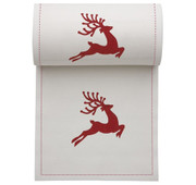 Ecru with Red Reindeer Cotton Printed Cocktail Napkin - 50 Units Per Roll
