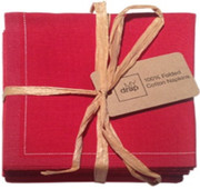 Lipstick Red Cotton Folded Napkin - 20 Units Per Pack