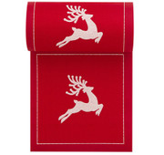 Red with White Reindeer Cotton Printed Cocktail Napkin Wholesale (10 Rolls)