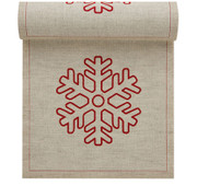Natural with Snowflake Linen Printed Luncheon Napkin Wholesale (10 Rolls)