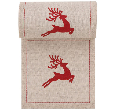 Natural with Red Reindeer Linen Printed Cocktail Napkin - 50 Units Per Roll