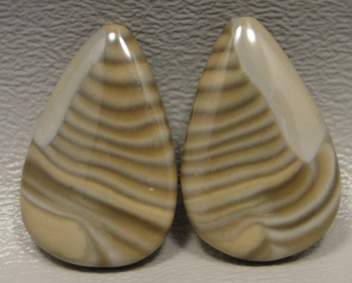 Polish Flint Matched Pair Stone Cabochon Semi Precious Designer Gemstone 4