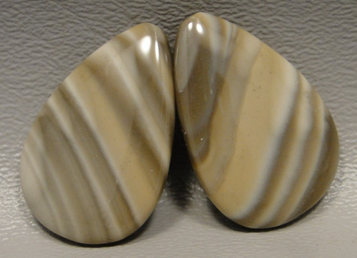Polish Flint Matched Pair Stone Cabochon Semi Precious Designer Gemstone 9