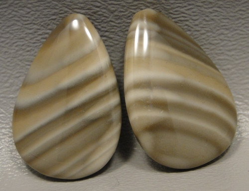 Polish Flint Matched Pair Stone Cabochon Semi Precious Designer Gemstone 9-2