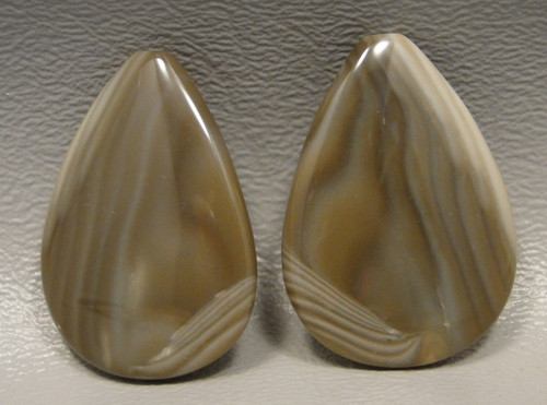 Polish Flint Matched Pair Stone Cabochon Semi Precious Designer Gemstone 2