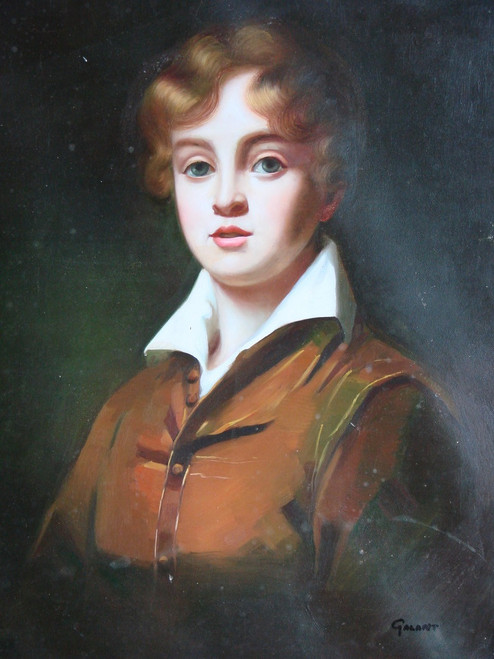 Painting of a child, stretched canvas but without frame, by Galant.  This medium sized painting is a portrait of a young boy wearing a brown jacket with a white collared shirt underneath.