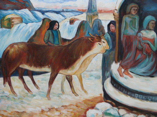 Beautiful, small, oil painting, stretched canvas but without frame, by Serbiti.  People dressed in bright blue lead a pair of brown oxen through a small village in snow.