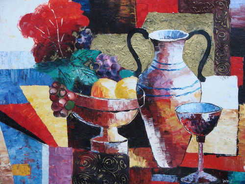 Beautiful still life oil painting, stretched canvas but without frame, by Wood.  A bowl of fruit sits on a table next to a tall vase and chalice with an abstract background of red, gold, blue and yellow colors.