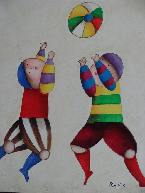 Small oil painting, stretched canvas but without frame, signed Roybal.  Two children jump and play with a colorful, striped ball.