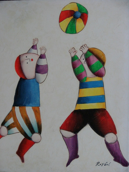 Small oil painting, stretched canvas but without frame, signed Roybal.  A pair of children play with a colorful ball.