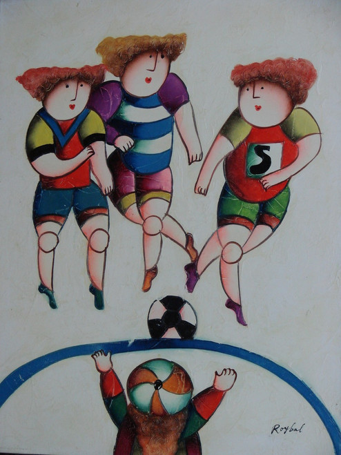 Small oil painting, stretched canvas but without frame, signed Roybal.  A group of children play soccer in colorful uniforms.