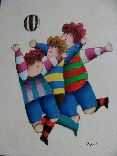 """Small oil painting, stretched canvas but without frame, signed Royba"""".  Three children run and jump after a striped ball."""