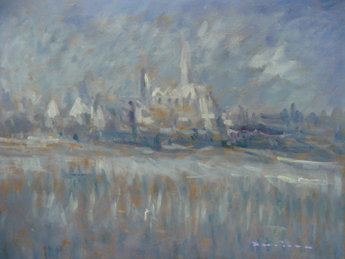 Beautiful small painting on canvas, stretched but without frame, unsigned. T  An abstract landscape of steel blue, grey, white and beige reveal a city in the distance.