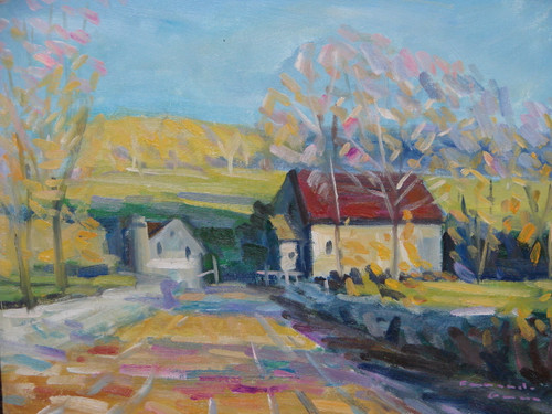 Beautiful small painting on canvas, stretched but without frame, signed by Fernando Garcia.  A dirt road leads to white red farm buildings in a field of yellow.