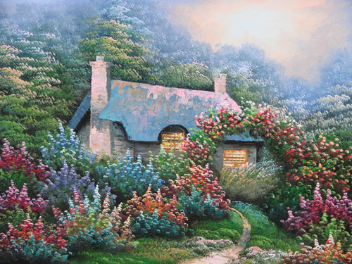Beautiful small painting on canvas, stretched but without frame, signed by Simon.  A Thomas Kinkade inspired cottage is surrounded by green shrubs with red, pink, orange and blue flowers.