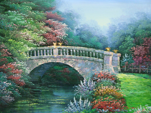 Beautiful small painting on canvas, stretched but without frame, signed by Simon.  A stone bridge arches over a flowing blue river encompassed with red, pink and purple flowering shrubs.