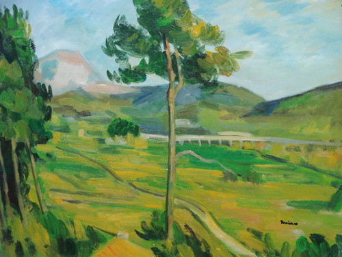 Beautiful painting on canvas, stretched but without frame, signed by Yovish K..  A tall, thin tree overlooks a valley of yellow and green.