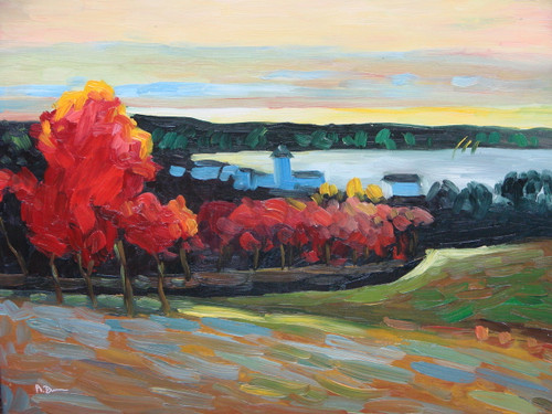 Beautiful small painting on canvas, stretched but without frame, signed by A. Dunn.  Autumn colored trees of red and orange line a valley leading to white buildings on the banks of a small, light grey bay.