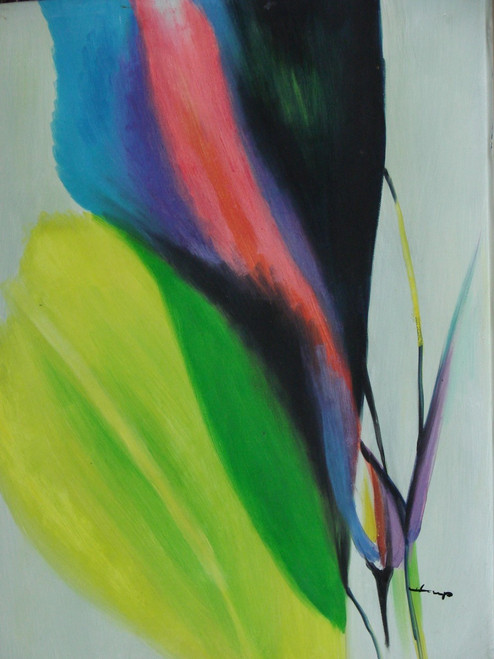 Beautiful small painting on canvas, stretched but without frame, signed by Heup.  An abstract yellow petal transitions to green, next to one going from blue to pink to black.