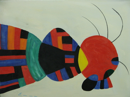 Beautiful painting on canvas, stretched but without frame, signed by Emma.  Red, black and blue shapes are accented by green orange and black in this small abstract.