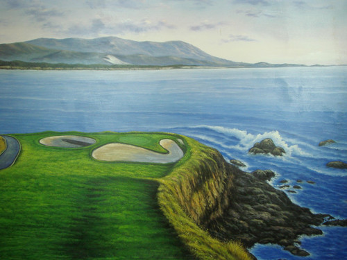 Beautiful large painting on canvas, stretched but without frame, signed by Benton.  Golf course fairway with sand traps and water hazard with blue waves crashing against rocks. A mountain range can be seen in the distance.