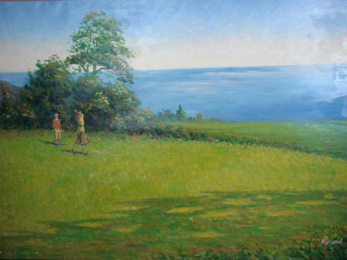 Beautiful large painting on canvas, stretched but without frame, signed by Rosen.  Two golfers tee off on a yellow-green golf course hole overlooking ocean blue water.