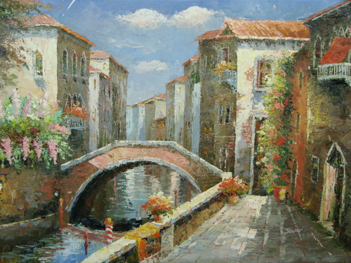 Beautiful medium sized painting, stretched but without frame, by Jaster.  Tan villas surrounded by pink and light orange flowers line a canal with a narrow brick bridge.