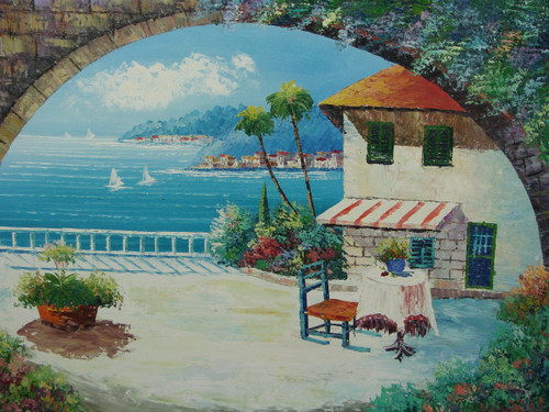 Beautiful medium sized painting, stretched but without frame, by Damini.  A brick archway, covered with ivy and light blue flowers, opens up to a veranda that overlooks light blue water, palm trees, and a coastline filled with villas.