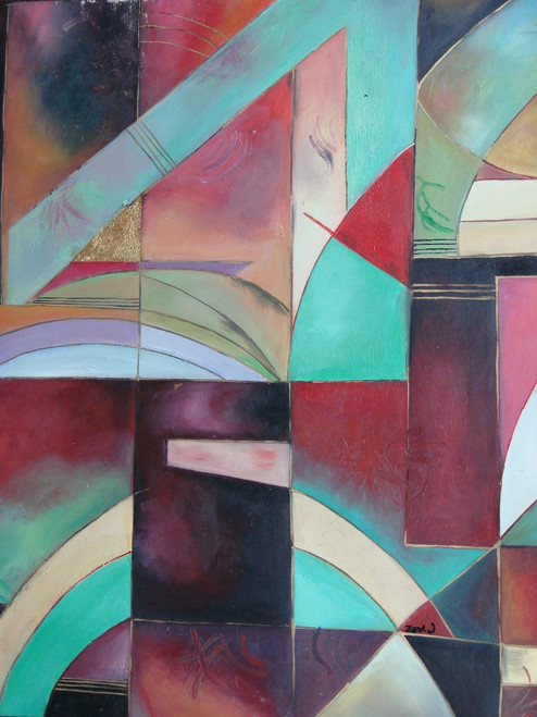 Abstract medium sized painting, stretched but without frame,  by Zev D..  Light blue, purple, red and pink shapes overlap each other on this colorful canvas.