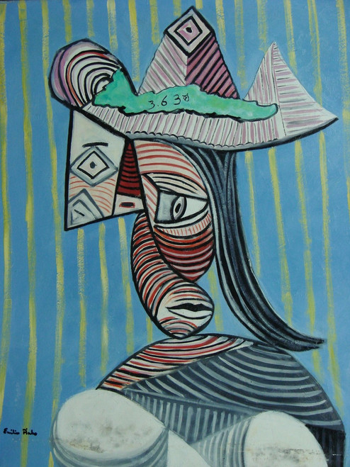 Abstract medium sized painting, stretched but without frame,  by Emilio Pinto.  A portrait is comprised of abstract shapes and black and red lines.