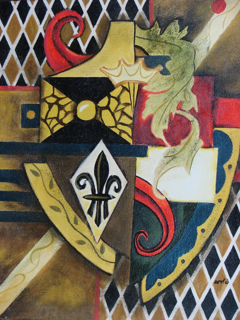 Abstract medium sized painting, stretched but without frame,  by Zev D..  An abstract shield of gold and black is embellished with red and blue designs.