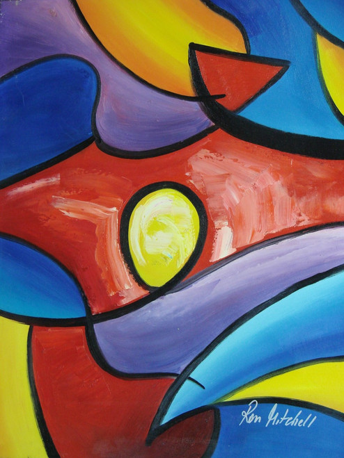 Abstract medium sized painting, stretched but without frame,  by R. Mitchell.  Red, blue, yellow and purple shapes are outlined in black lines overlap each other.
