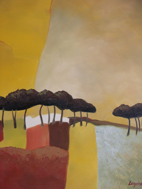 Abstract medium sized painting, stretched but without frame,  by Legendre.  A row of dark brown trees line the horizon of a yellow, beige and red background.