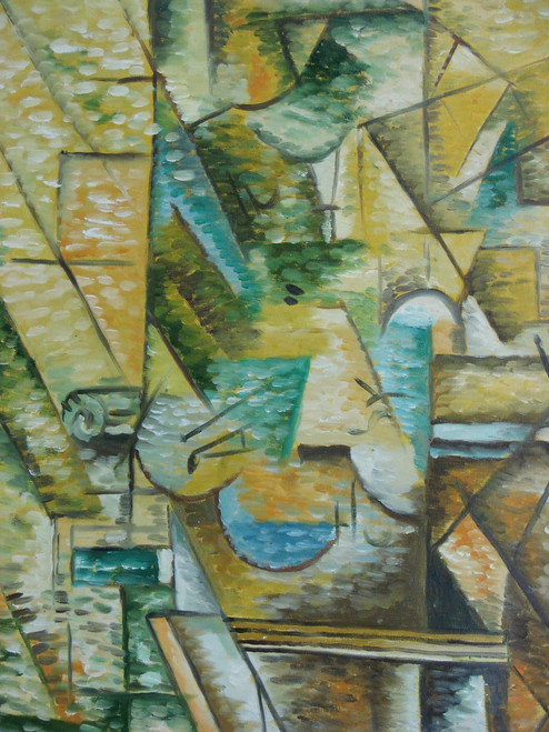 Abstract medium sized painting, stretched but without frame,  by Thomas.  Tan shapes create shadows of light green and are accented with small black lines.