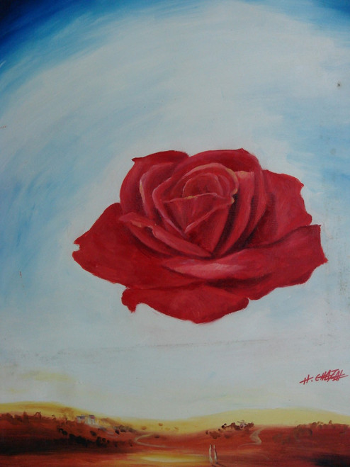 Abstract medium sized painting, stretched but without frame,  by H. Chafal.  A large red rose covers the middle of a white and blue canvas.
