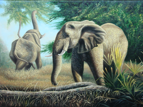 Beautiful medium sized painting, stretched but without frame,  by S. Charles.  Two elephants eat green leaves from trees and brown grass near a log.