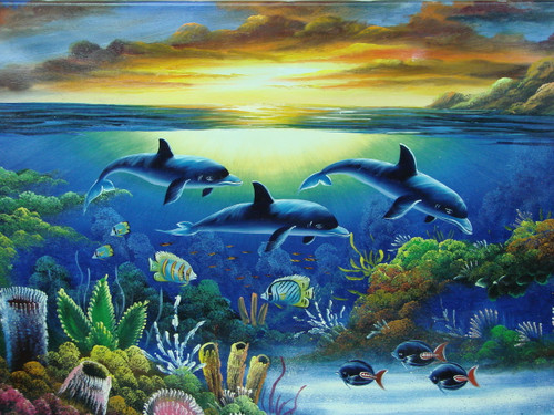Beautiful medium sized painting, stretched but without frame,  by Rosen.  Dolphins swim with other sea life near colorful coral in water reflecting the setting sun.