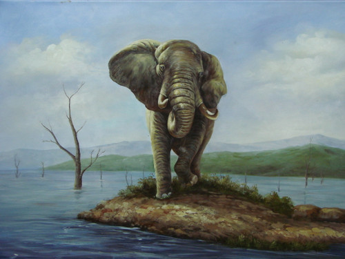 Beautiful medium sized painting, stretched but without frame, by Jackson.  An elephant stands on a patch of ground surrounded by water.