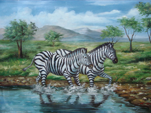 Beautiful medium sized painting, stretched but without frame, by M. Aaron.  Zebras walk through a watering hole in a grassland.