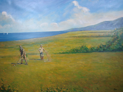 Beautiful large painting, stretched but without frame, by Rosen.  A golfer takes a swing on a yellowing golf course.
