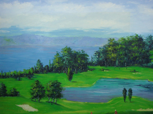 Beautiful large painting, stretched but without frame, by Berton.  A water hazard sits on a green gold course with pine trees.