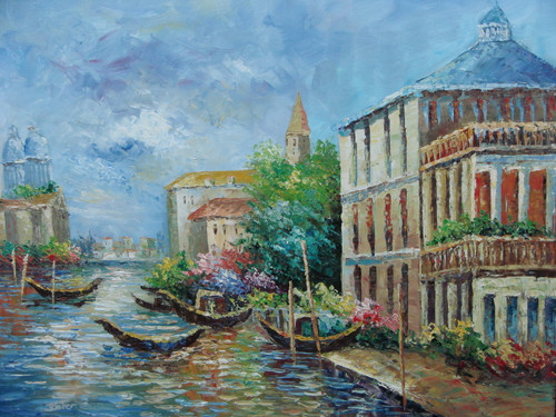 Beautiful medium sized painting, stretched but without frame, by Jaster.  Brown gondolas line a canal with large buildings and colorful flowers of blue, pink and yellow on each side of the canal.