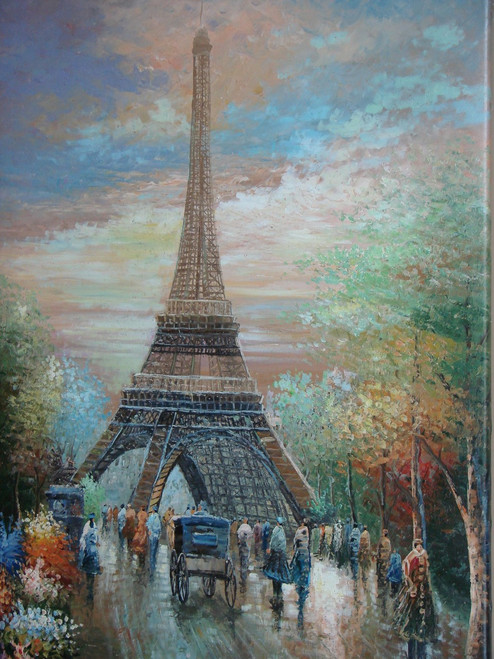 Beautiful large painting, stretched but without frame, by Rocell.  The Eiffel Tower is surrounded by people, fall-colored trees and flowers.