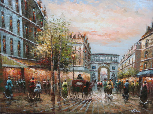 Beautiful medium sized painting, stretched but without frame, by Rene.  Woman in colorful petticoats and carriages fill a street in Paris lined with tall buildings.