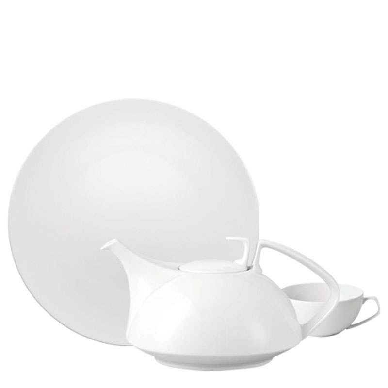 Rosenthal TAC 02 White plate, coffee pot and cup on white background
